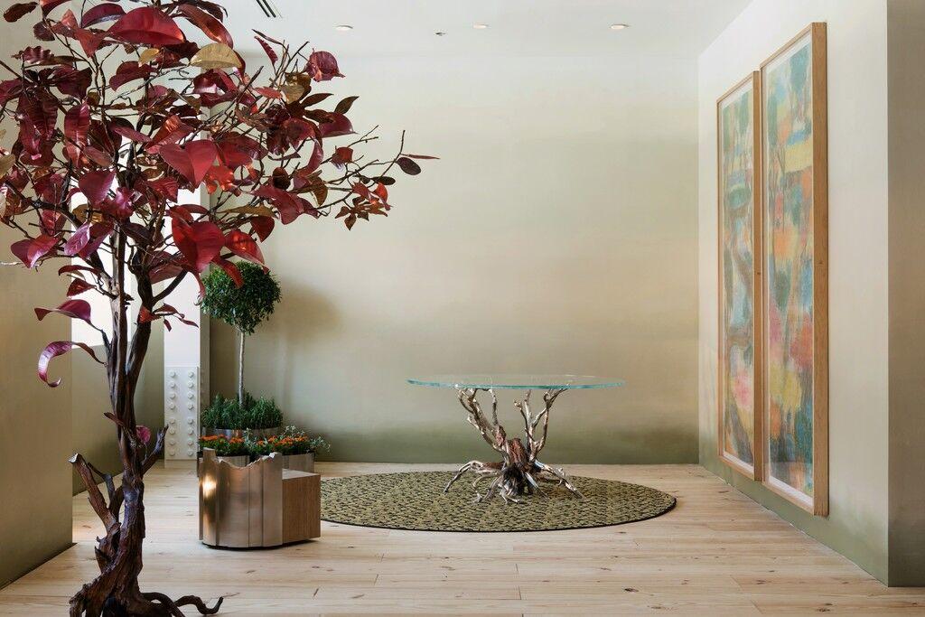 """Installation view of """"Maria Pergay: Secret Garden""""at Demisch Danant, Paris, 2013. Courtesy Demisch Danant."""