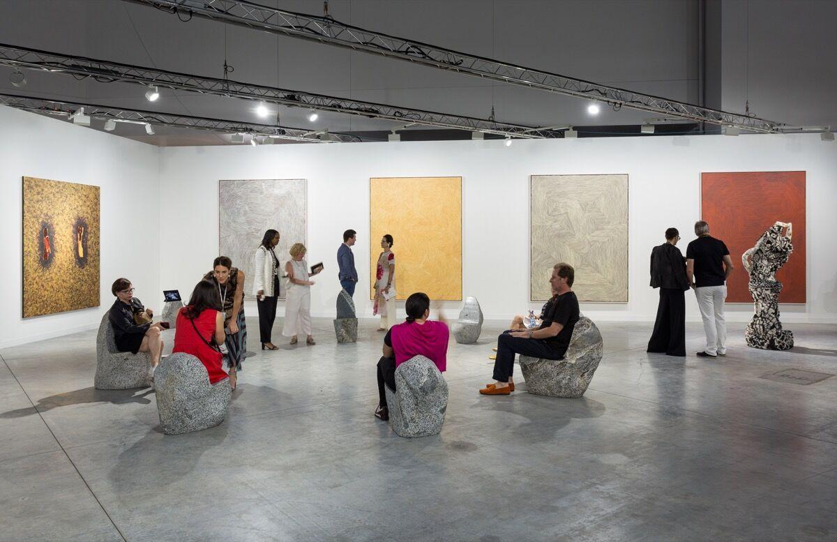 Installation view of Salon 94's booth at Art Basel in Miami Beach, 2017. Photo by Alain Almiñana for Artsy.
