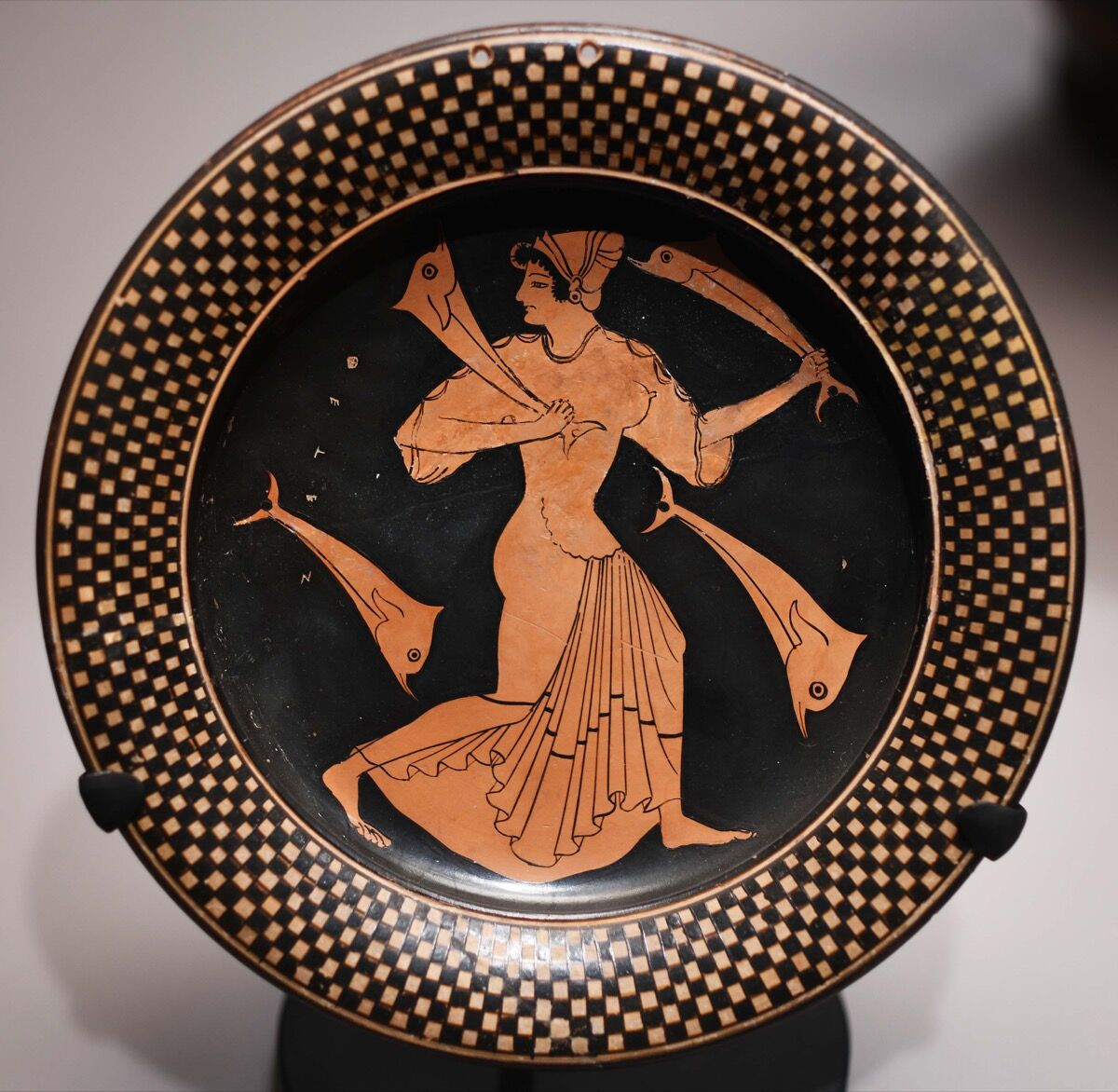 Attributed to Circle of Euthymides, Plate with Thetis and dolphins , ca. 510-500 B.C., Greek. Photo by Orientalizing, via Flickr.
