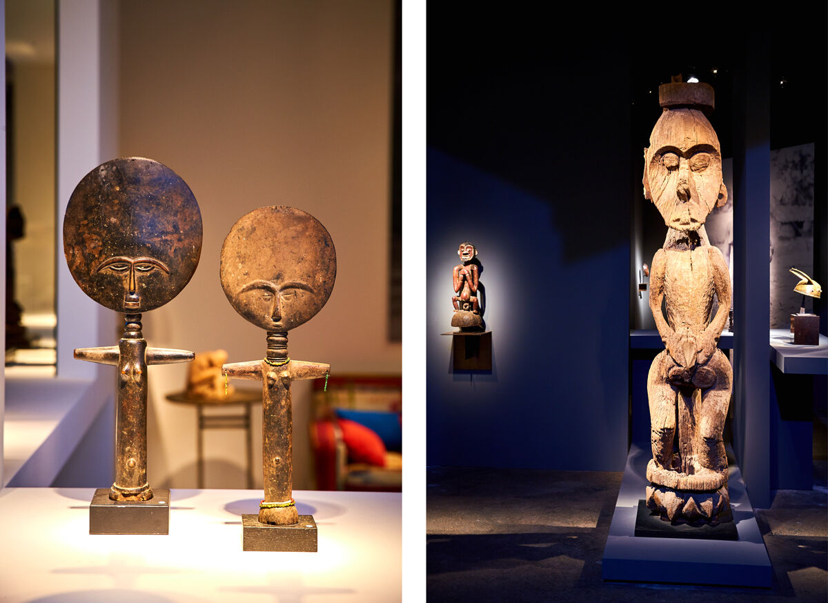 Left: Installation view of Bernard de Grunne Tribal Fine Arts's booth at Brafa, 2017; Right: Installation view of GalerieBernard Dulon's booth at Brafa, 2017. Photos courtesy ofBRAFA.