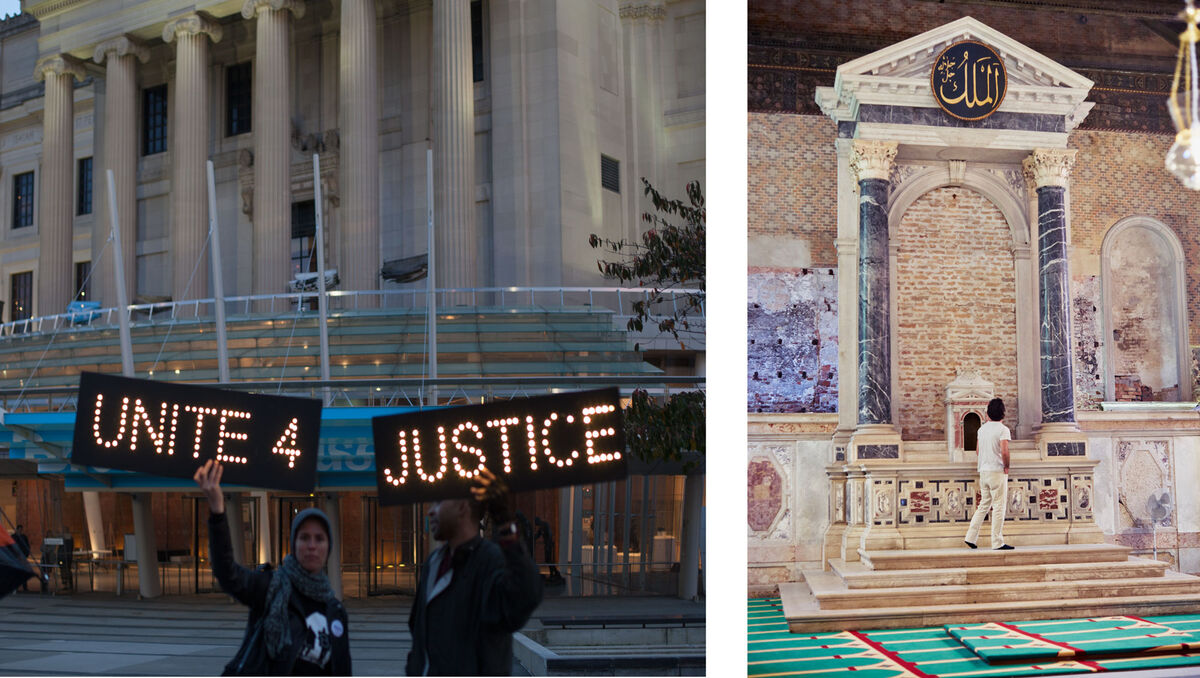 Protests at the Brooklyn Museum, photo by Isaac Kaplan; the Icelandic Pavilion at the Venice Biennale, photo by Alex John Beck.