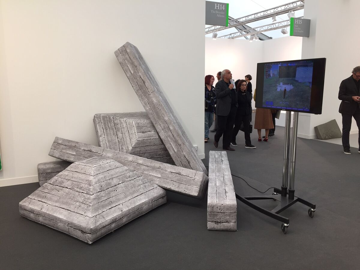 Installation view of Andreas Angelidakis, Soft Ruin, 2015 at The Breeder's booth at Frieze London, 2015. Courtesy the gallery.
