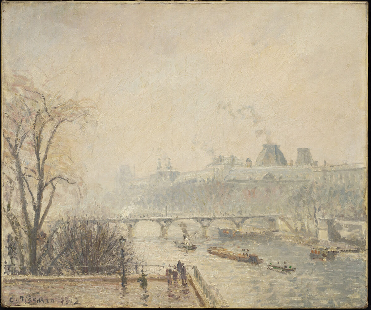 Camille Pissarro, Le Louvre, matin brumeux (3 série), 1902, oil on canvas. Photo by Kris Graves, courtesy the Barnett and Annalee Newman Foundation.