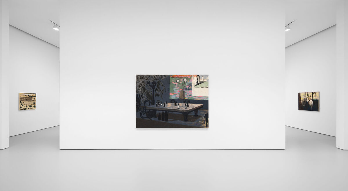 """Mamma Andersson, installation view of """"The Lost Paradise"""" at David Zwirner, New York, 2020. Courtesy of David Zwirner."""