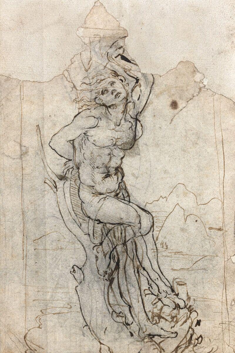 Leonardo Da Vinci, Study for a San Sebastian in a landscape. Image courtesy of Tajan.