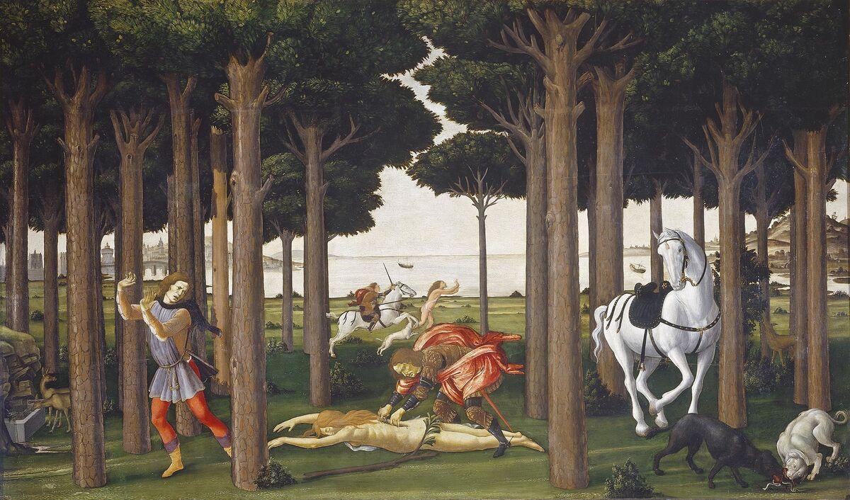 Sandro Botticelli, La historia de Nastagio degli Onesti II, ca.  1483. Imagen a través de Wikimedia Commons.