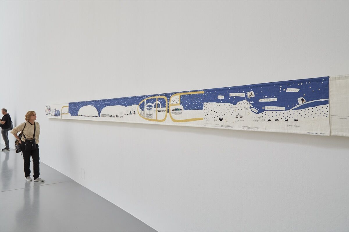 Britta Marakatt-Labba, Historja, 2003–07, on view at documenta 14, 2017. Photo by Benjamin Westoby for Artsy.