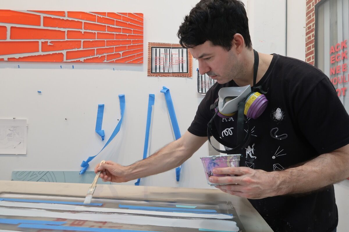 Ethan Greenbaum in his Long Island City studio. Photo by Sun You. Courtesy of the artist.