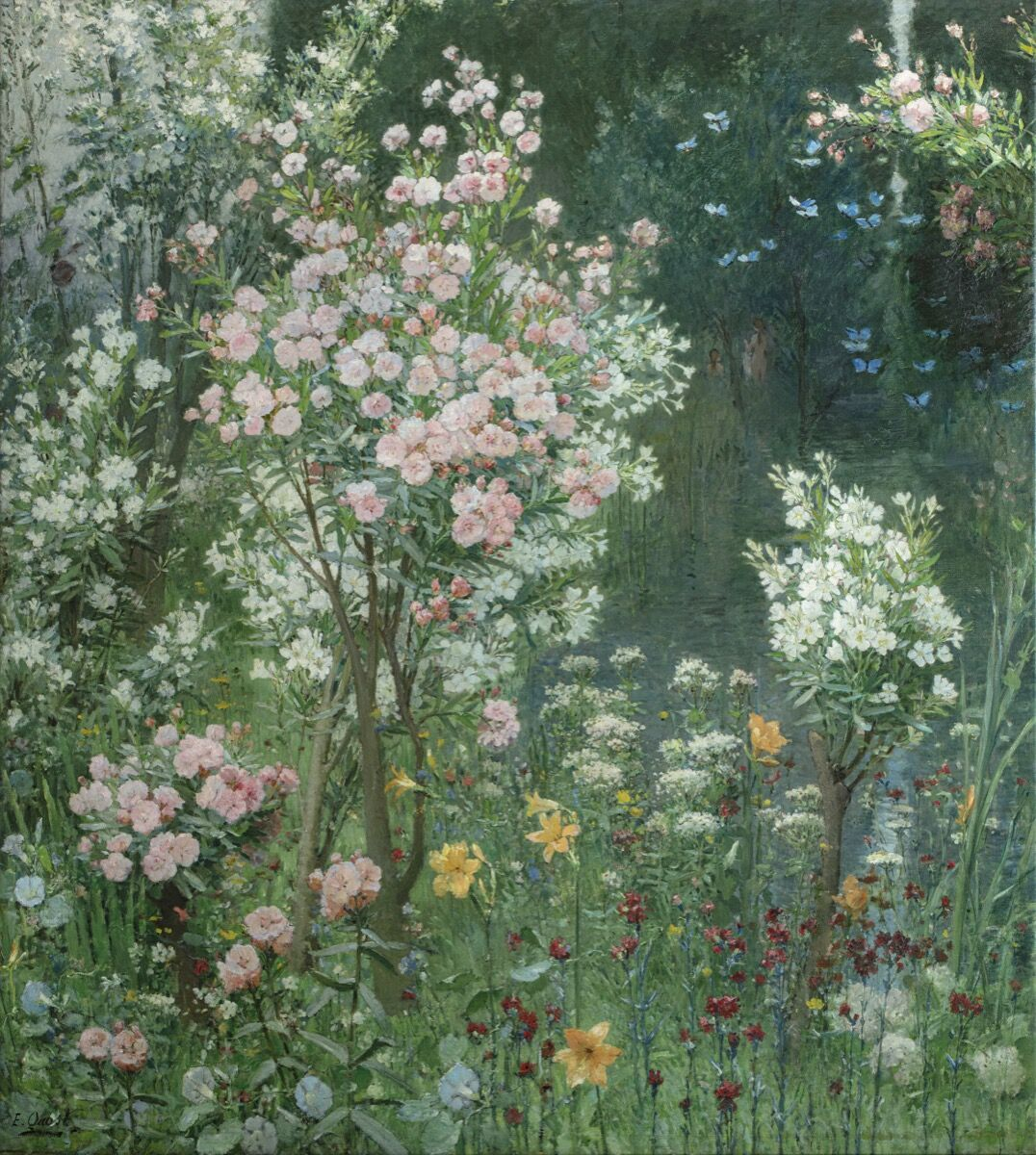 Ernest Quost, Landscape with Female Bathers, 1890. Courtesy of Galerie Talabardon et Gautier.