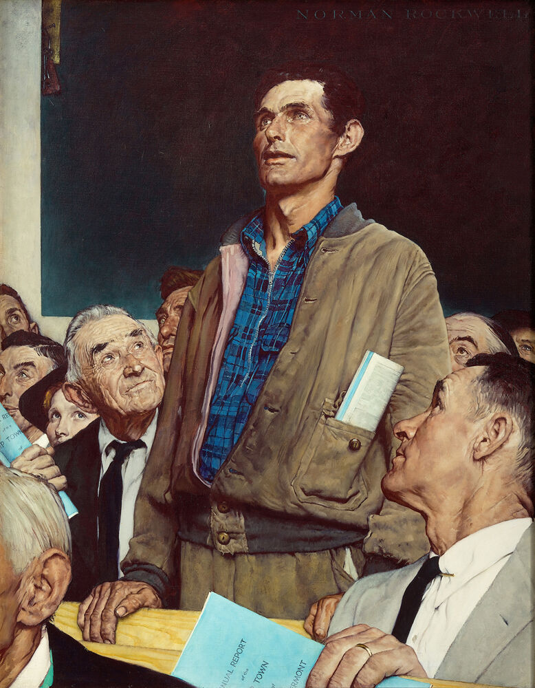 """Norman Rockwell, Freedom of Speech, from the """"Four Freedoms"""" series, 1943. Story illustration for The Saturday Evening Post, February 20, 1943. © SEPS: Curtis Licensing, Indianapolis, IN. Courtesy of the Norman Rockwell Museum and the New York Historical Society Museum & Library."""