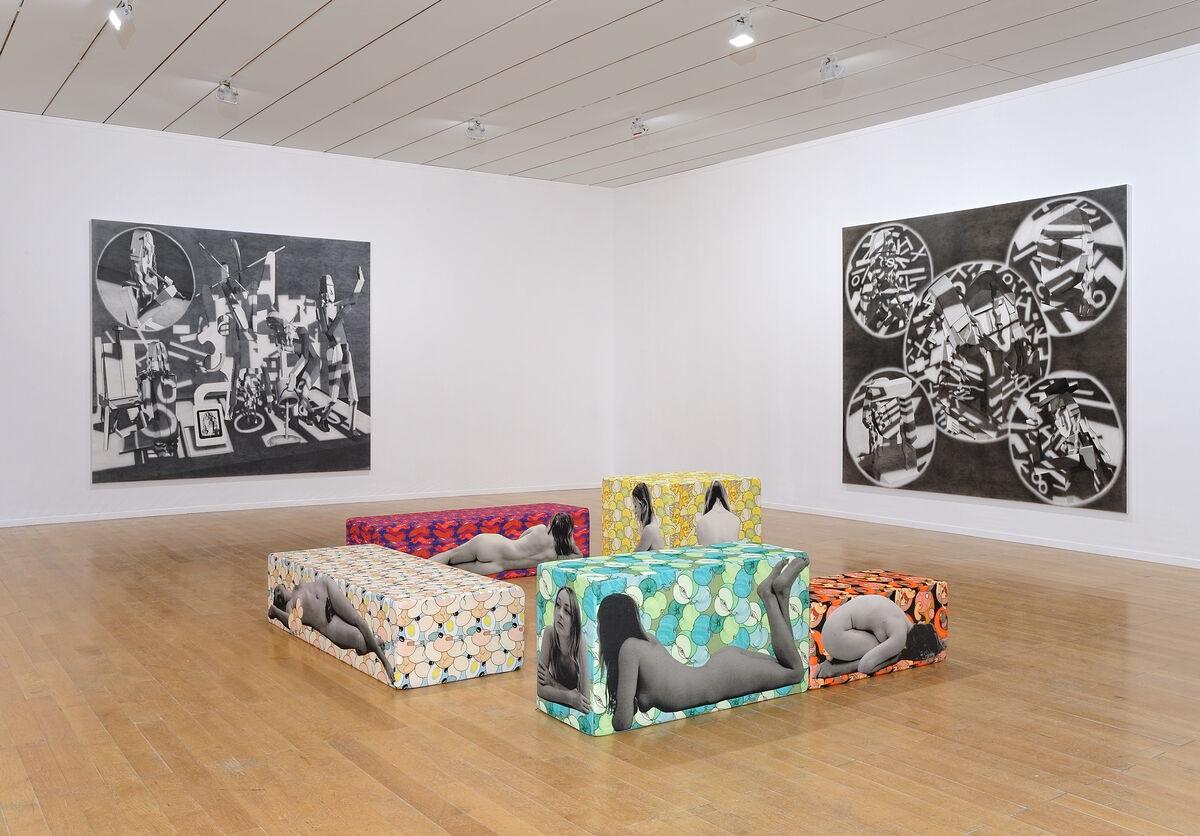 "Anthea Hamilton, ""Fruity Seating,"" and Avery Singer, ""European Ego Ideal."" Courtesy of theLyon Biennial2015 © Blaise Adilon"