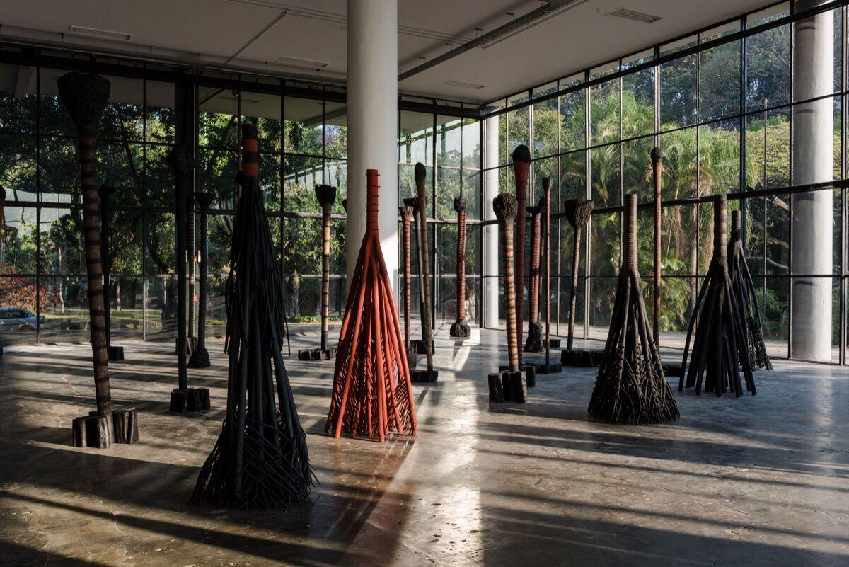 Installation view of Frans Krajcberg, Sem titulo (Bailarinas), at the 2016 Bienal de São Paulo. Photo: Leo Eloy / Fundação Bienal de São Paulo.