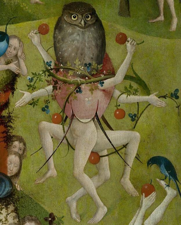 Detalle del panel central de Hieronymus Bosch, El jardín de las delicias, 1490-1500.  Imagen vía Wikimedia Commons.