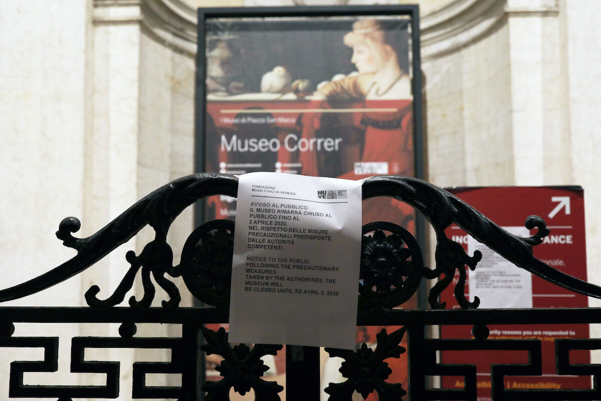 A notice outside the shuttered Museo Correr in Venice explains that the institution will be closed until April 3rd. Photo by Marco Di Lauro/Getty Images.