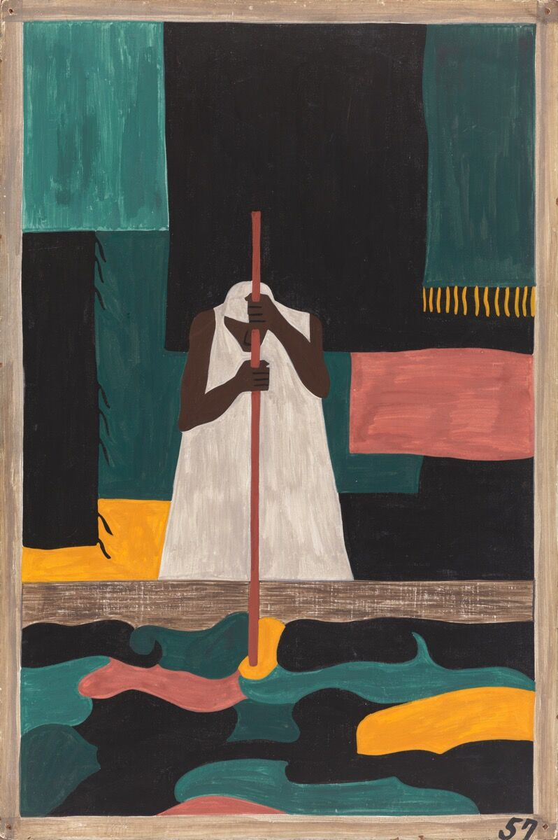 Jacob Lawrence,  The Migration Series, Panel no. 57: The female workers were the last to arrive north, 1940–1941. © The Jacob and Gwendolyn Lawrence Foundation, Seattle / Artists Rights Society (ARS), New York. Courtesy of The Philips Collection.