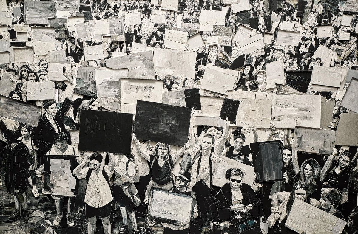 """Vik Muniz, Protest, from  """"Surface"""" series, 2020. Courtesy of the artist."""