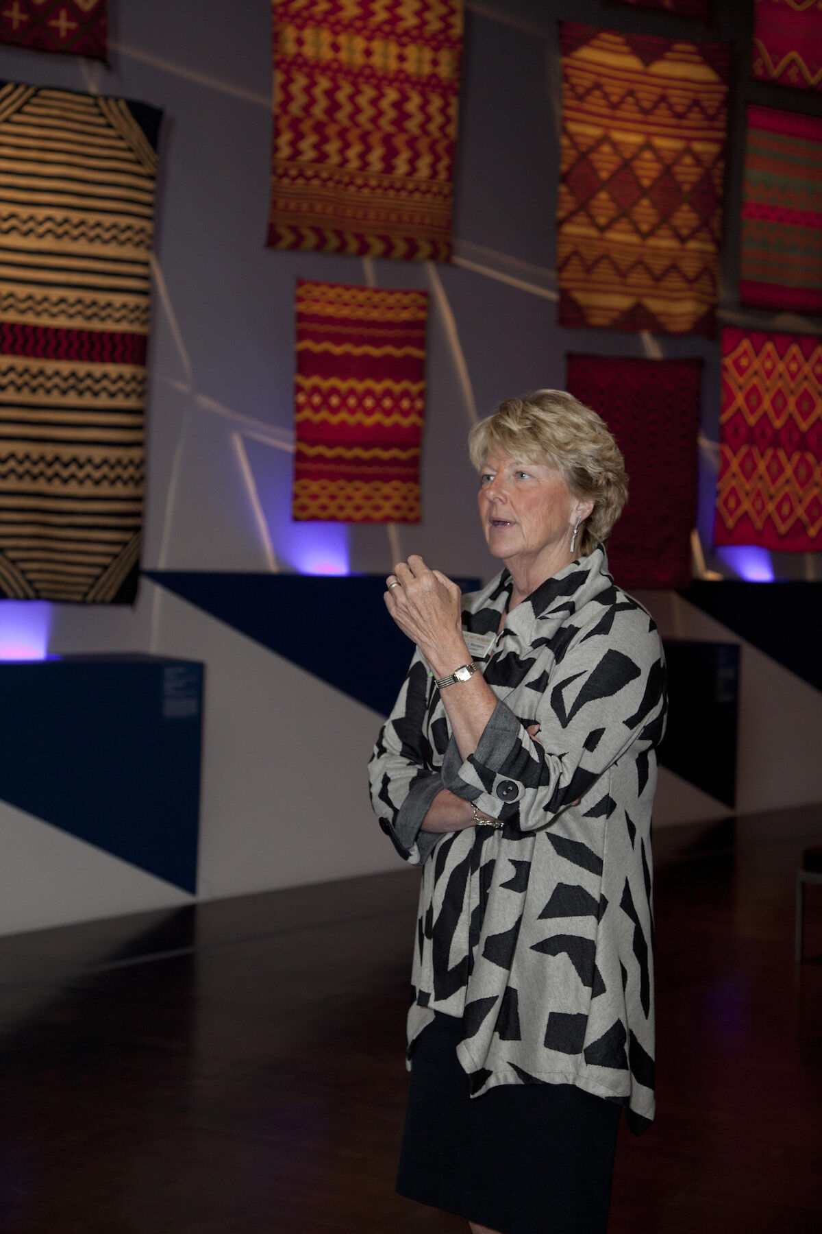 """Nancy Blomberg during the media preview of """"Red, White and Bold: Masterworks of Navajo Design, 1840–1870"""" at the Denver Art Museum in 2013. Photo courtesy the Denver Art Museum."""