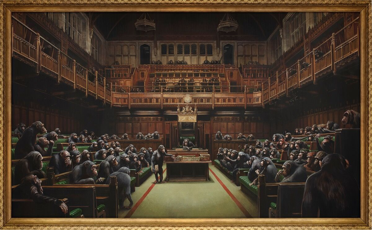 Banksy, Devolved Parliament, 2009. Courtesy of Sotheby's.