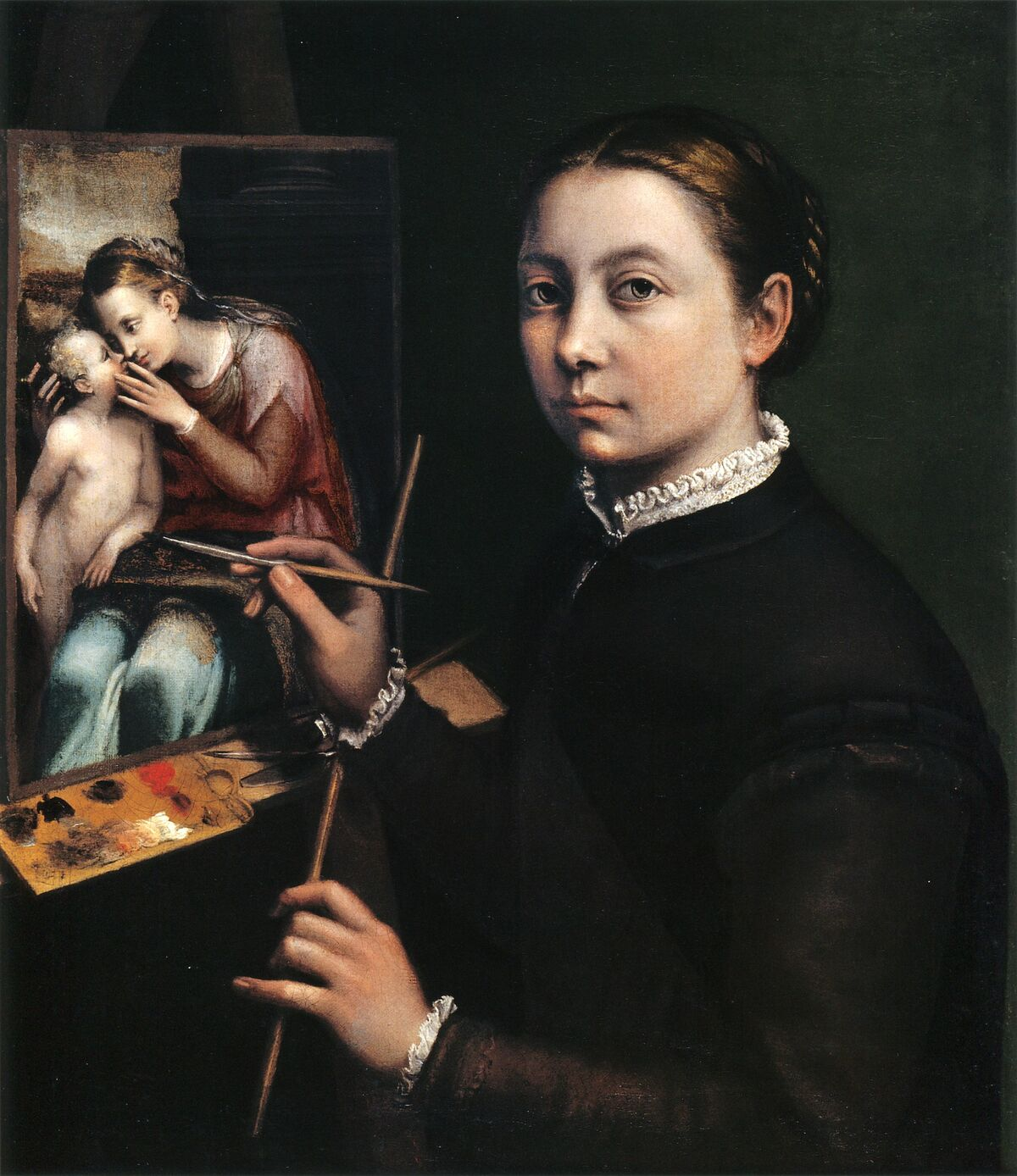 Sofonisba Anguissola, Self-portrait at the Easel Painting a Devotional Panel, 1556. Image via Wikimedia Commons.