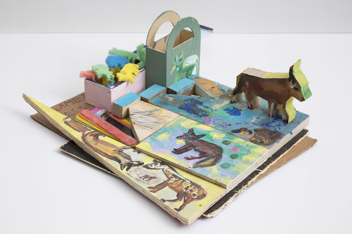Susan Cianciolo, Game 2. WALK IN FREEDOM, 2018, cardboard, wood, acrylic paint, popsicle sticks, tape, glue, styrofoam, and pen. Photo by Gregory Carideo, copyright Susan Cianciolo, courtesy of the artist and Bridget Donahue, NYC.