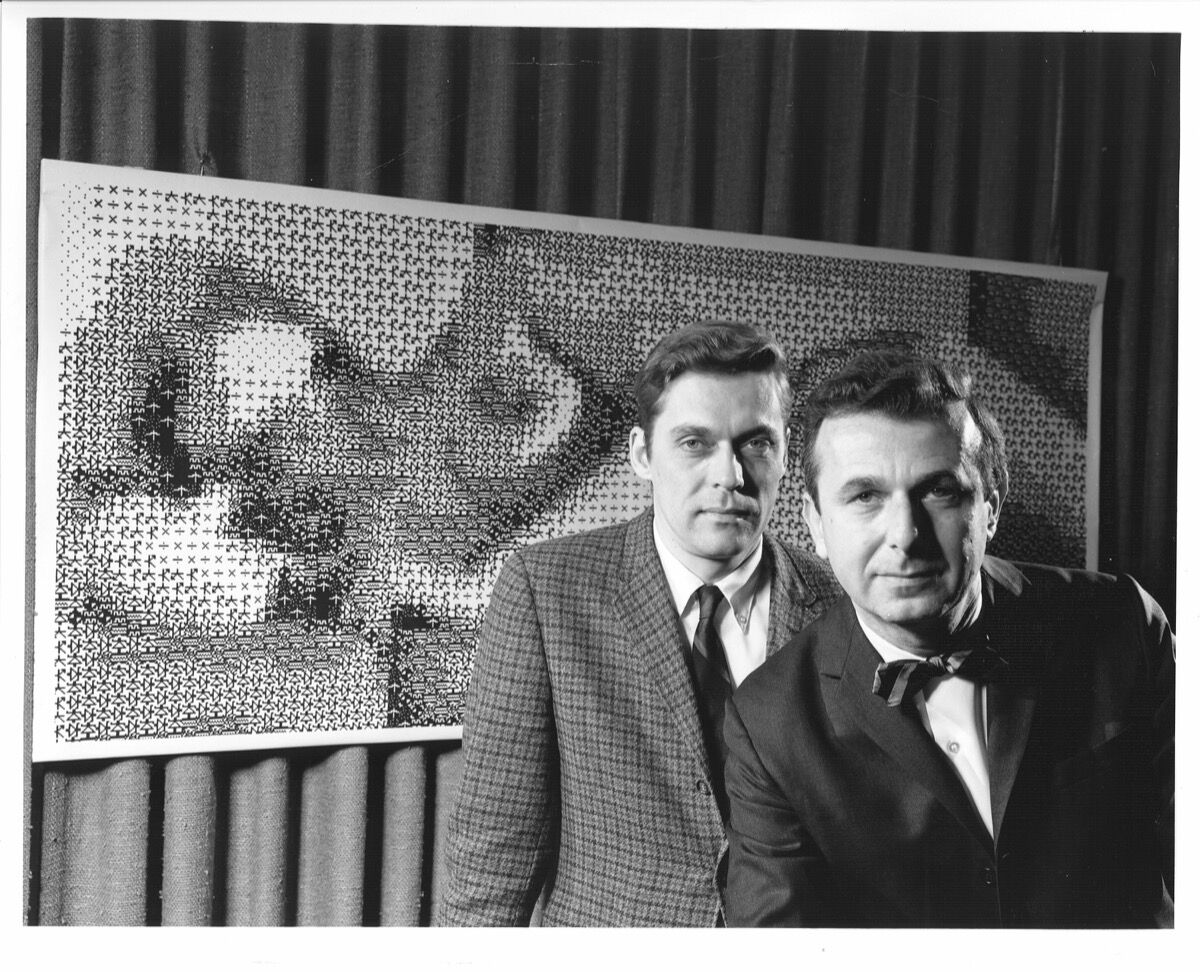 Left to right: Bell Labs' scientists Ken Knowlton and Leon Harmon with their work, Computer Nude (Studies in Perception I), 1967, a pointillistic, computer-generated art picture they created, 1969. Courtesy of Nokia Bell Labs.