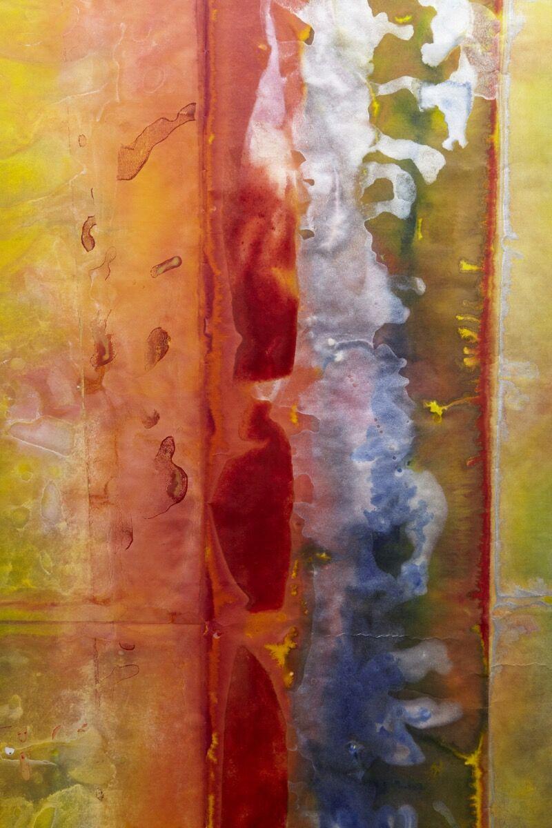 Detail of Sam Gilliam, Untitled, 2019. Courtesy of David Kordansky Gallery, Los Angeles.