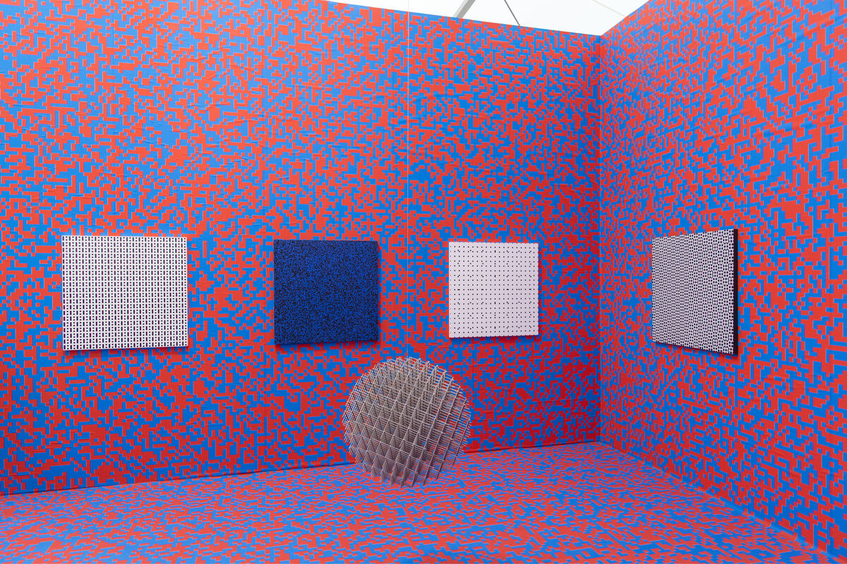 Installation view of François Morellet's works at Galerie Hervé Bize's booth at Frieze New York, 2016. Photo by Adam Reich for Artsy.
