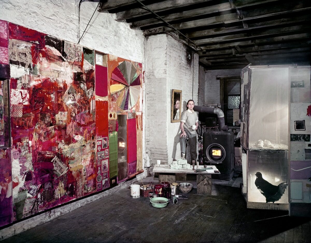 Rauschenberg in his Pearl Street studio, New York, March 1958. Works, left to right: Charlene, 1954, Untitled, c. 1954, and Monogram, 1955–59, second state, 1956–58. Photo by Dan Budnik. Courtesy of Robert Rauschenberg Foundation Archives, New York. © Dan Budnik, all rights reserved. Courtesy of the Museum of Modern Art.