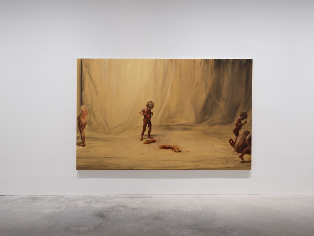 "Installation view of Michaël Borremans, ""Fire from the Sun,"" David Zwirner Hong Kong, 2018. © Michaël Borremans. Photo by Kitmin Lee. Courtesy of David Zwirner."