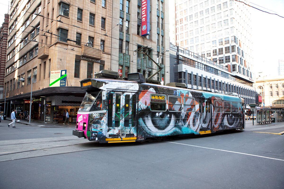 Tram art by Rone. Photo byYarra Trams, via Flickr.