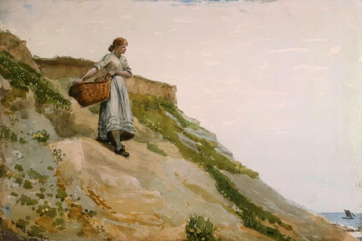Winslow Homer, Girl Carrying a Basket, 1882. Photo via Wikimedia Commons.
