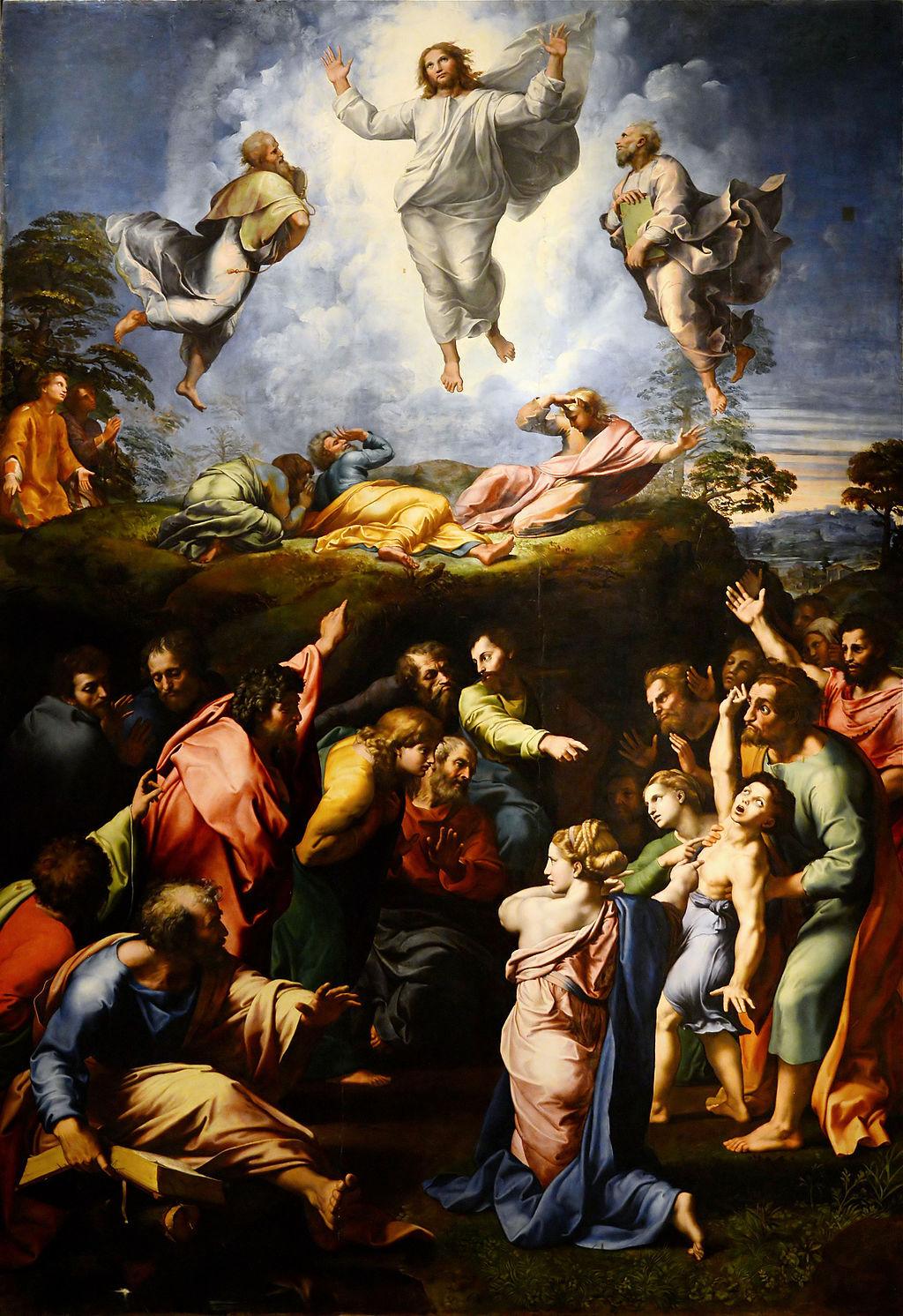 Rafael, La Transfiguración, 1516-20.  Imagen a través de Wikimedia Commons.