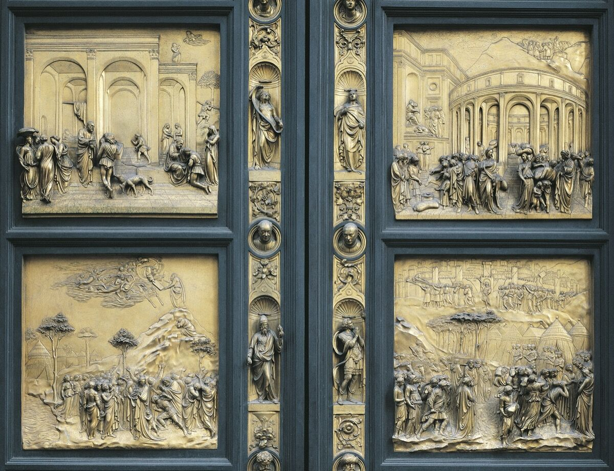 A detail of Lorenzo Ghiberti's Gates of Paradise, Baptistery of San Giovanni Battista, Florence. Italy, 15th century. Photo by DeAgostini. Image via Getty Images.