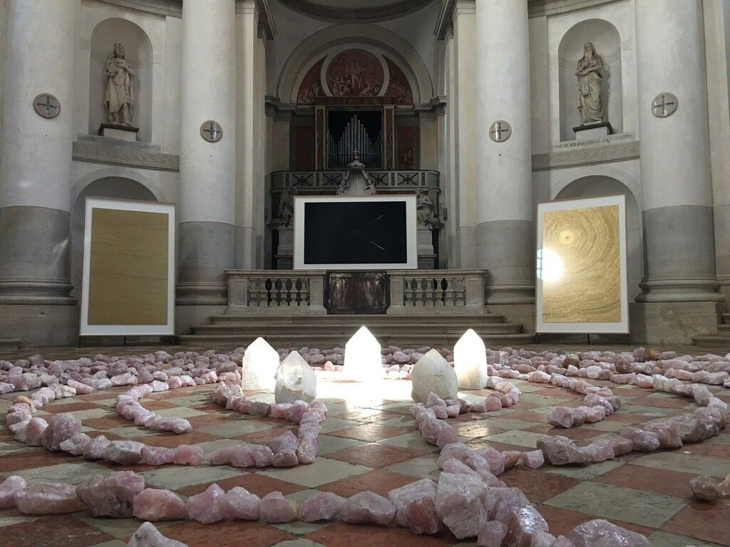 """Installation view of Slater B. Bradley, """"Sundoor at World's End,"""" at La Maddalena (Church of Mary Magdalene) for Zuecca Project Space, Venice, 2017."""