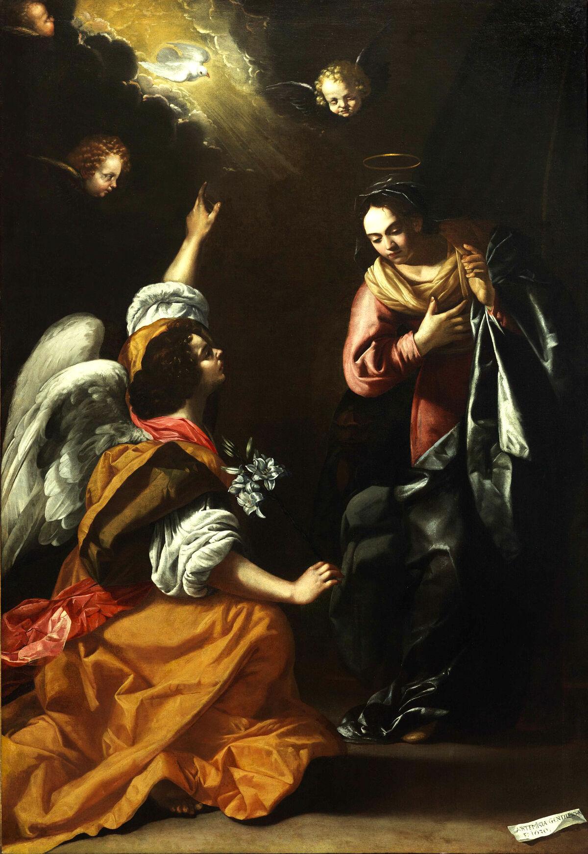 Artemisia Gentileschi, The Annunciation, 1630. Photo via Wikimedia Commons.