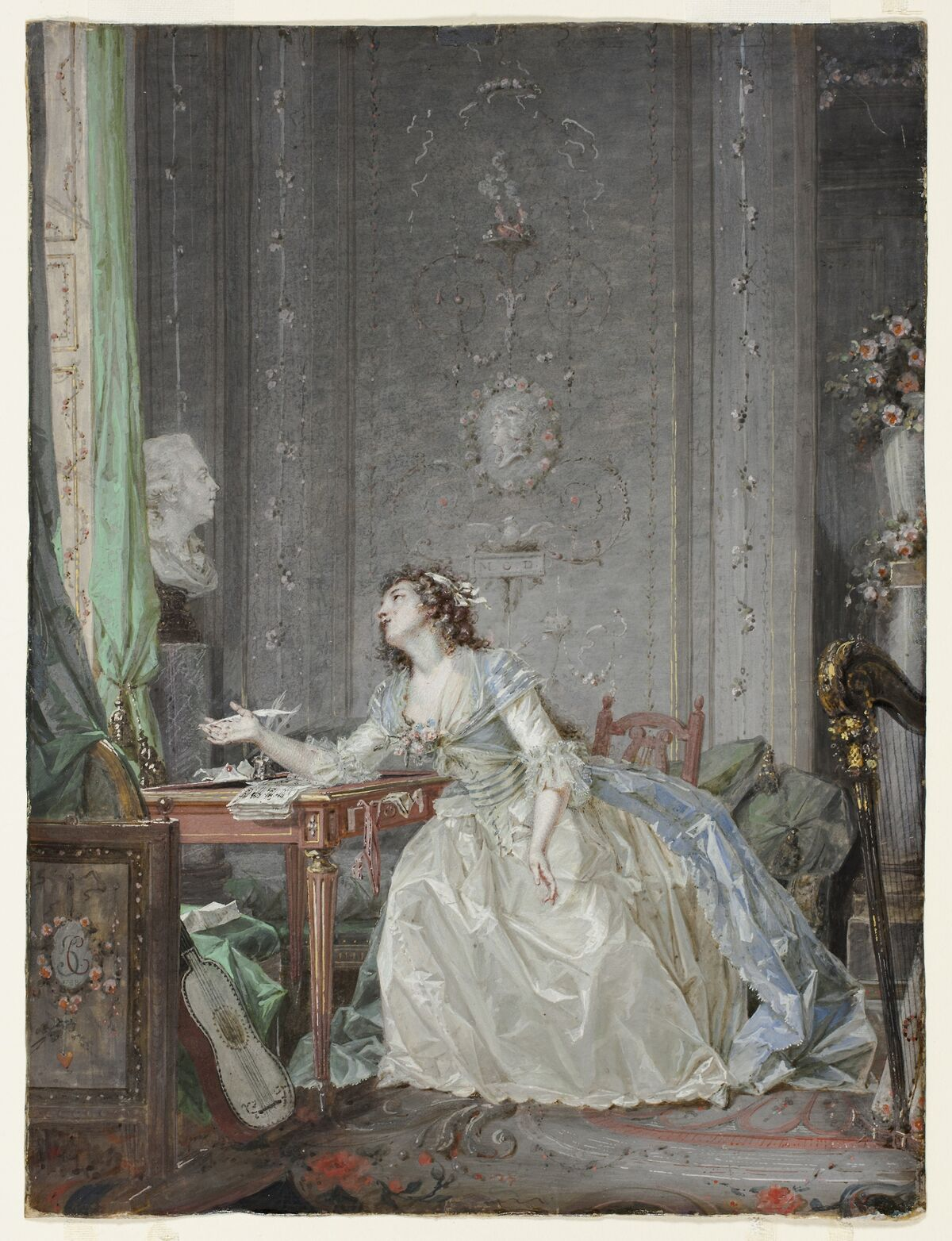 Claude Hoin, Interior with a Portrait of a Young Lady Before a Bust, 1788.  Courtesy of the Art Institute of Chicago.