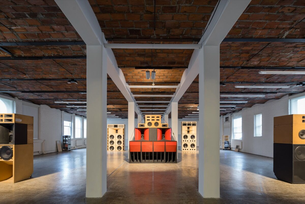 Installation view of Mark Lecky, Sound Systems series, 2001–2012, at MoMA PS1. Photograph by Pablo Enriquez, courtesy of the artist and MoMA PS1.