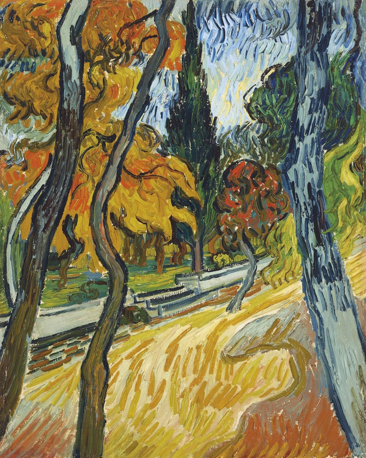 Vincent van Gogh, Arbres dans le jardin de l'asile, 1889, oil on canvas. Est. in the region of $25 million. Courtesy Christie's Images Ltd. 2019.