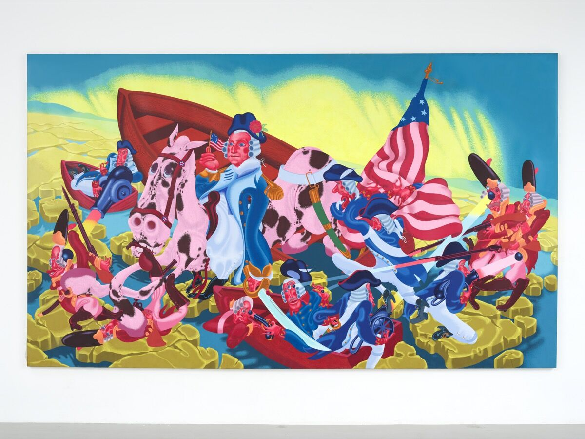 Peter Saul, Washington Crossing the Delaware, 1975. © 2020 Peter Saul and Artists Rights Society (ARS), New York. Photo by Farzad Owrang. Courtesy of the New Museum Of Contemporary Art.