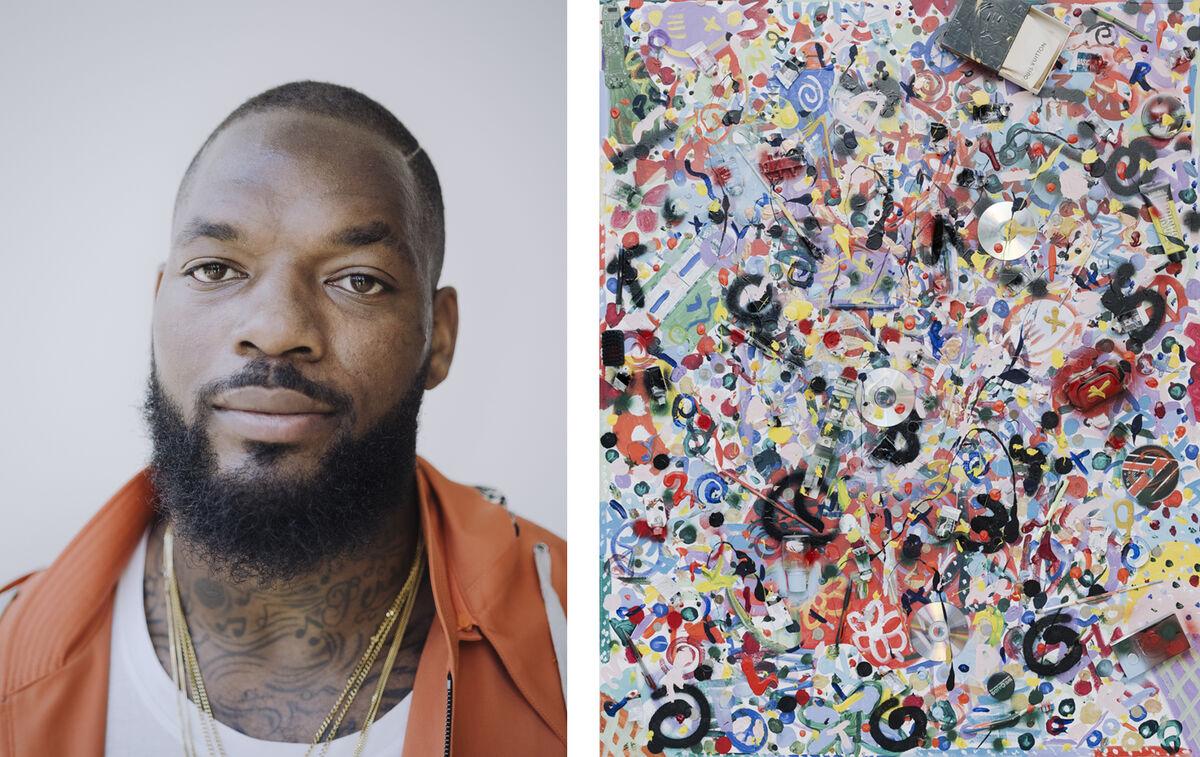 Left:Portrait of Martellus Bennett by Whitten Sabbatini for Artsy. Right: Painting by Martellus Bennett.