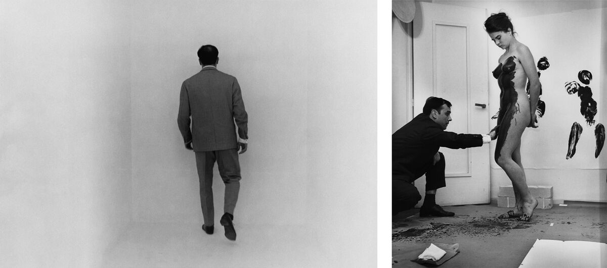 Left: Yves Klein in the room dedicated to the Void at the occasion of his exhibition « Monochrome und Feuer », Museum Haus Lange, Krefeld, Germany, January 1961. Artwork © Yves Klein, Artists Rights Society (ARS), New York / ADAGP, Paris, 2017. Photo © Charles Wilp – BPK, Berlin; Right: Yves Klein realizing an Anthropometry in his studio, 14, rue Campagne-Première, Paris, France 1960. Artwork © Yves Klein, Artists Rights Society (ARS), New York / ADAGP, Paris, 2017. Photo © Harry Shunk-John Kender - J.Paul Getty Trust. The Getty Research Institute, Los Angeles.