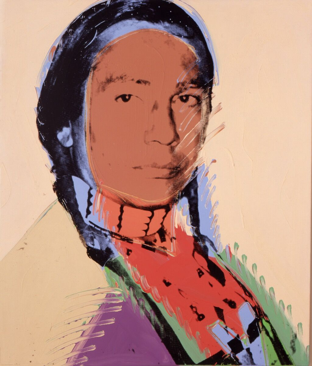 Andy Warhol, The American Indian (Russell Means), 1976. Artwork © 2019 The Andy Warhol Foundation for the Visual Arts, Inc. / Licensed by Artists Rights Society (ARS), New York. Courtesy of the Booth Museum.