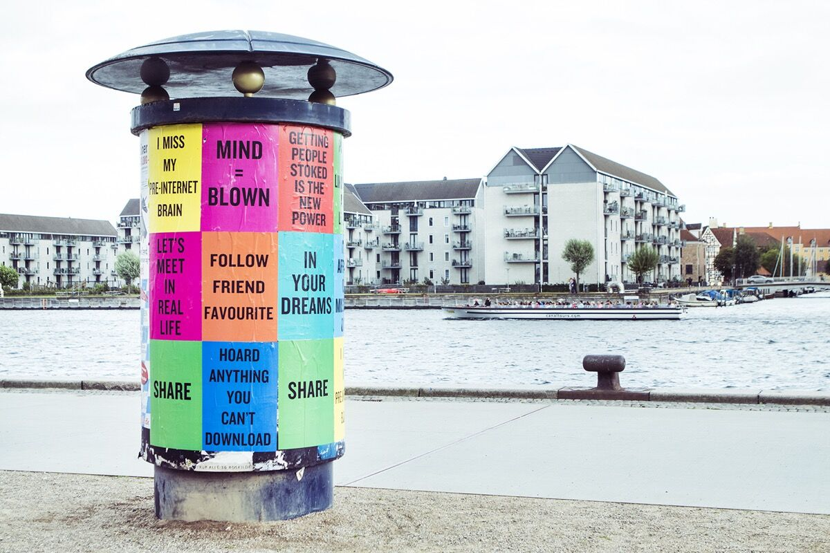 """View ofDoug Coupland's """"Slogans of the 21st Century,"""" at CHART, 2016. Photo courtesy ofI DO ART Agency for CHART."""