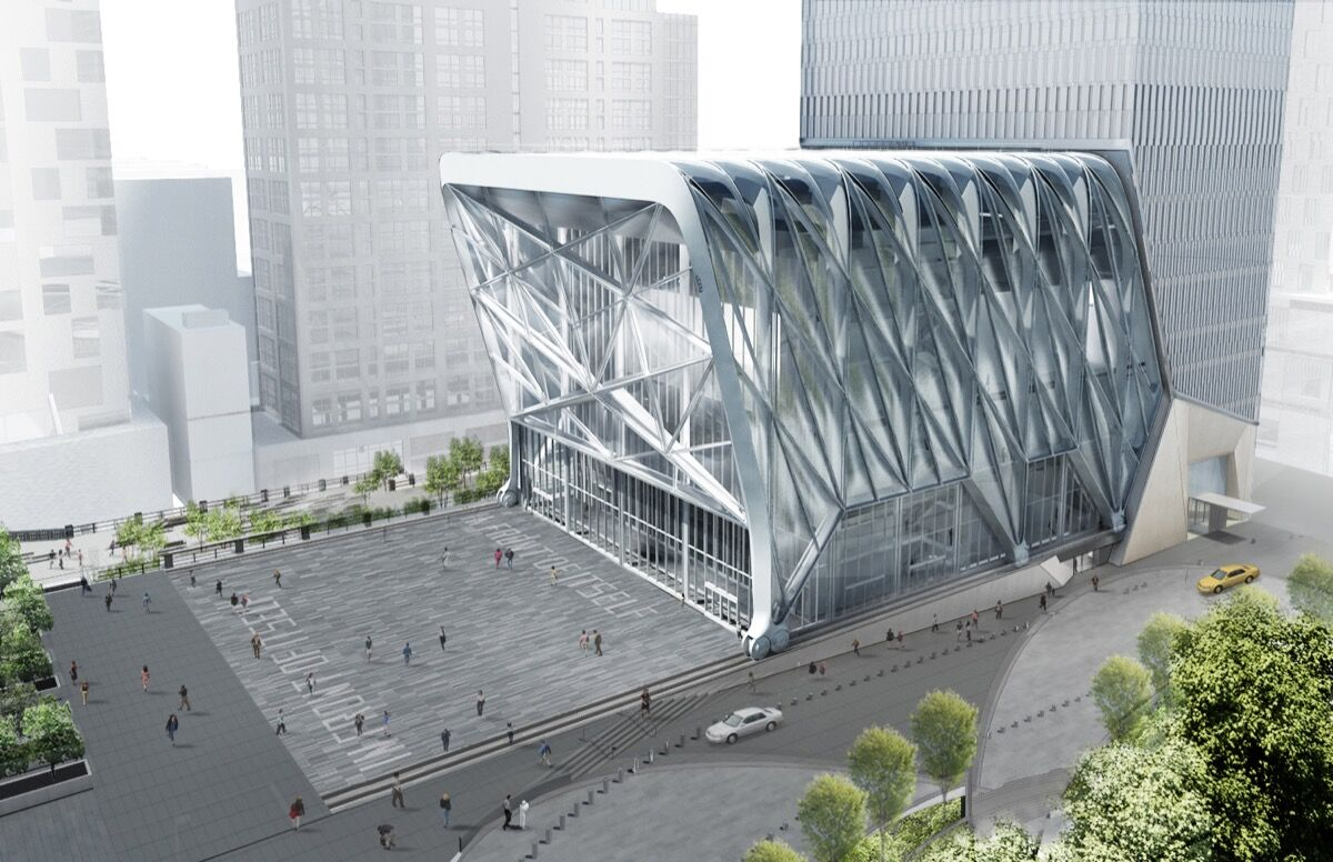 The Shed and Lawrence Weiner's IN FRONT OF ITSELF (rendering). Diller Scofido + Renfro in collaboration with Rockwell Group.