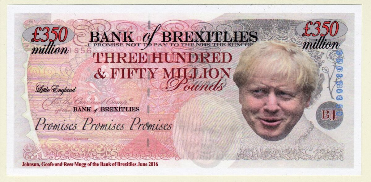A fake, anti-Brexit bill featuring Boris Johnson created by Bath for Europe. Courtesy the British Museum.