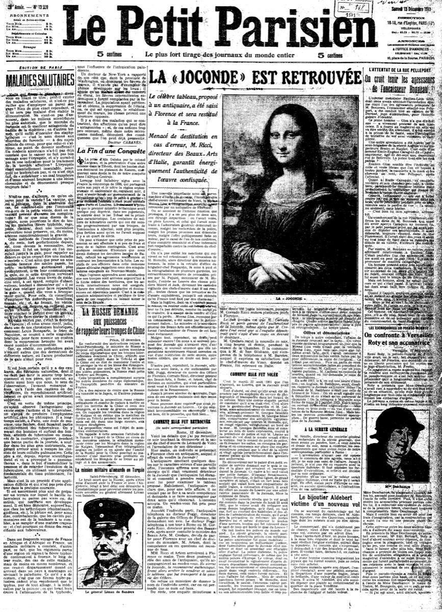 """""""La Joconde est Retrouvée"""" (Mona Lisa Found), Le Petit Parisien, Numéro 13559, 13 December 1913. Image via Wikimedia Commons."""