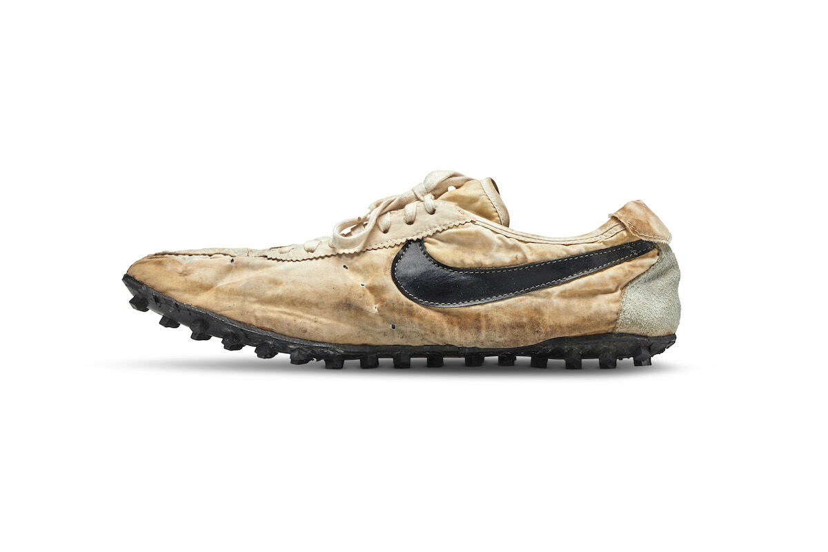 "The Nike ""Moon Shoe"" sold for $437,500. Photo credit: Unrah/Jones, courtesy Sotheby's."