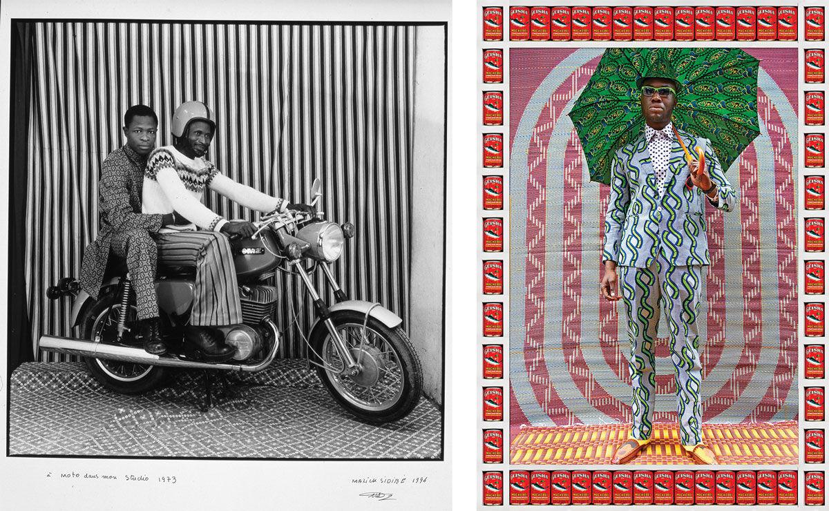 Left:Malick Sidibé, On the motorbike in my studio, 1973. © Malick Sidibé. Image courtesy of CAAC – The Pigozzi Collection, Geneva; Right: Hassan Hajjaj, Afrikan Boy, 2012. © Hassan Hajjaj. Image courtesy of the artist.