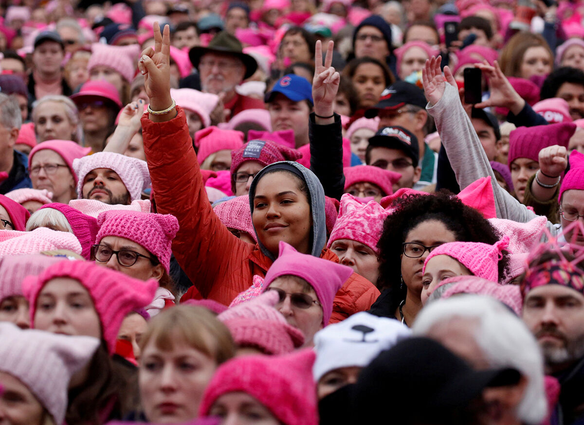 People gather for the Women's March in Washington, January 21. REUTERS/Shannon Stapleton