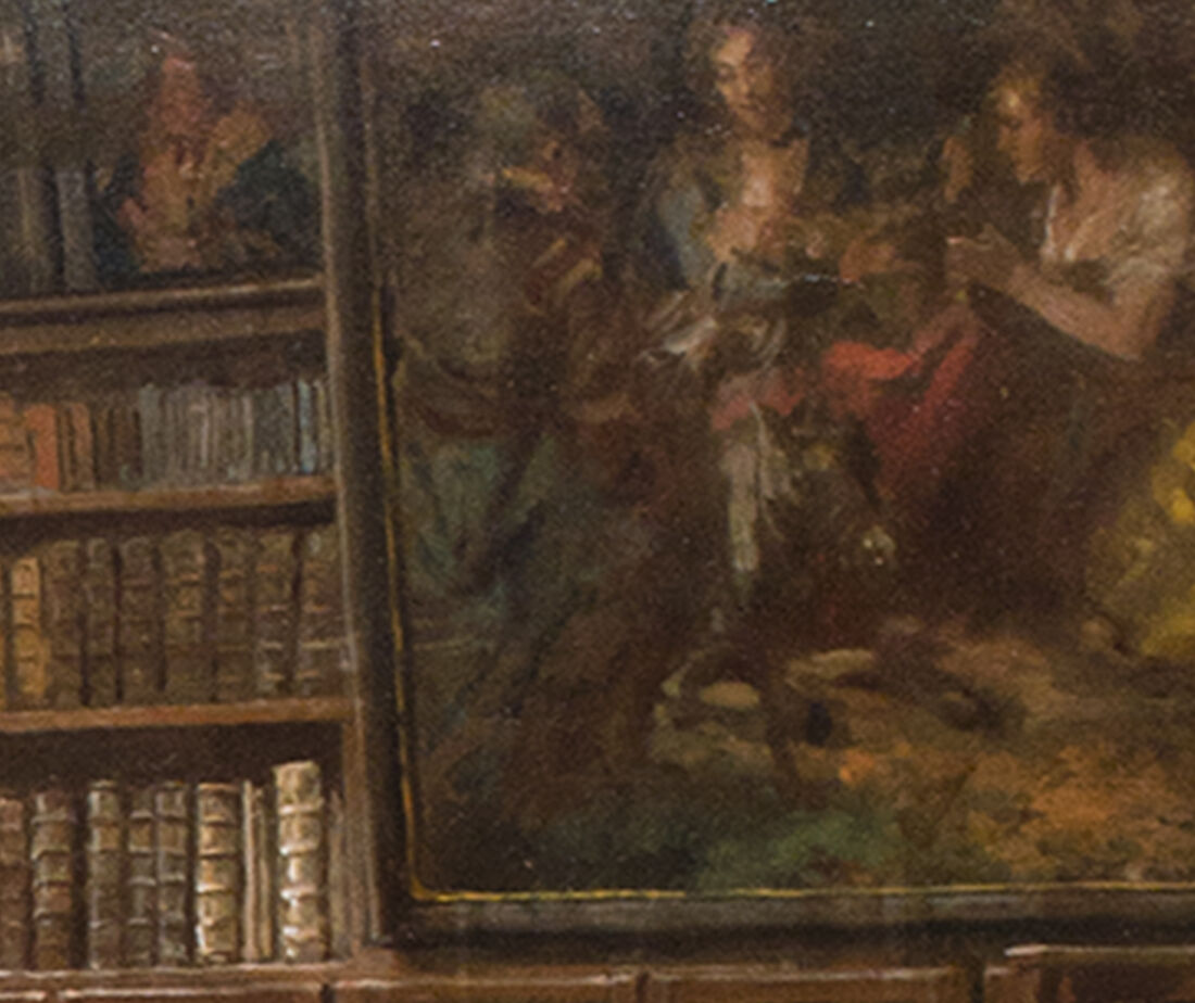 Close-up image of the painting within a painting, a biblical subject.